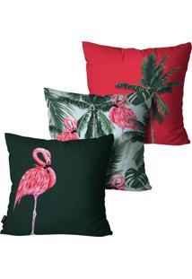 Kit Com 3 Capas Para Almofadas Pump Up Decorativas Vermelho Flamingo Summer 45X45Cm