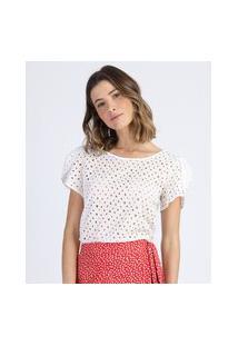 Blusa Feminina Em Laise Manga Curta Decote Redondo Off White