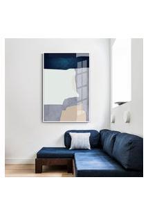 Quadro 75X50Cm Abstrato Geométrico Oriental Malko Moldura Branca Sem Vidro
