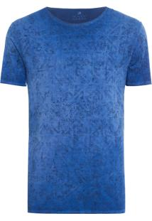 Camiseta Textura Logo - Azul