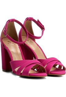 Sandália Ala Salto Grosso Multi Tiras Feminina - Feminino-Pink