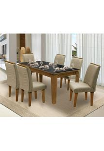 Mesa Para Sala De Jantar Saint Michel Com 6 Cadeiras – Dobuê Movelaria - Mell / Preto / Bege
