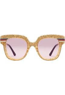 8d14fbaa89f48 ... Gucci Eyewear Óculos De Sol Quadrado Com Glitter - Dourado