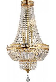 Lustre Imperial De Cristal Fontana Del Tritone 5 Lâmpadas Arquitetizze Dourado