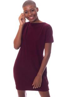 Vestido Moda Vicio Decote Nas Costas Com X Vinho