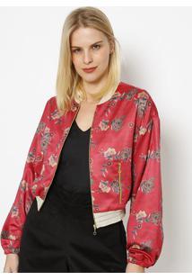 Jaqueta Acetinada Com Bolsos- Vermelha & Dourada- Mimiss Bella