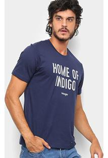 Camiseta Wrangler Home Of Indigo Masculina - Masculino-Marinho