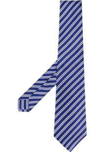 Kiton Gravata Com Padronagem Listrada - Azul