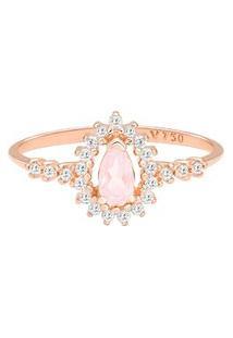 Anel Ouro Rosé Quartzo Rosa E Diamantes