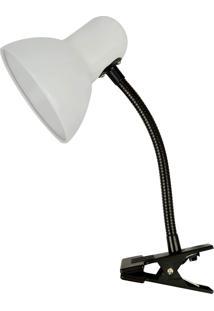 Luminária De Mesa Premier Iluminação Clip Metal E Plástico, Branco