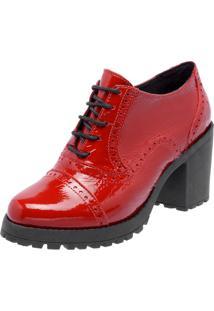 Oxford Ankle Boot Em Couro Q&A Casual Verniz Vermelho