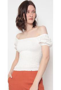 Blusa Texturizada Com Franzidos - Off White - Estiloestilo H