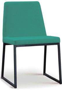 Cadeira Yanka Aço Preto Linho Azul Turquesa Daf