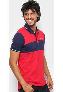 Camisa Polo Wrangler Masculina - Masculino-Vermelho+Marinho