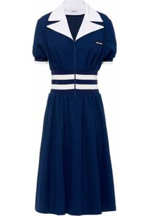 Miu Miu Vestido Midi Com Detalhe De Listras - Azul