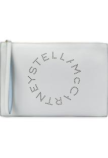 Stella Mccartney Clutch Com Logo Perfurado - Azul