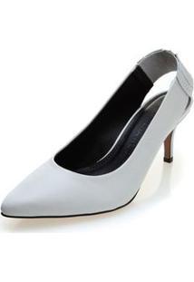 Sapato Morena Rosa Chanel Detalhe Costura Branco