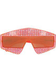 Gucci Eyewear Óculos De Sol Oversized Com Cristais - Vermelho
