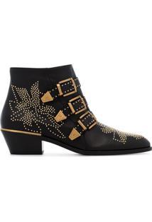 Chloé Ankle Boot 'Susanna 30' De Couro Com Tachas - Preto