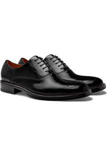 Sapato Social Brogan Oxford Smith Masculino - Masculino-Preto