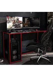 Mesa Gamer Singapura Ideal Para 2 Monitores Preto/Vermelho - Politorno
