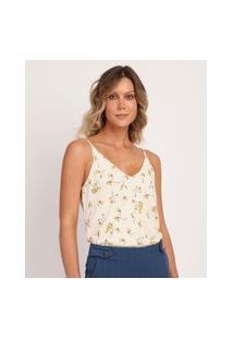 Blusa Feminina Estampada Floral Alças Finas Decote V Off White