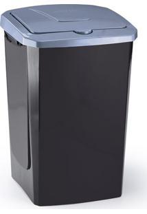 Lixeira De Plástico Com Tampa Arthi Ecofácil Preta E Cinza 40L