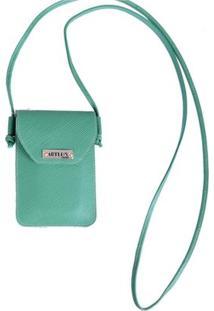 Mini Bolsa Transversal De Couro - Feminino-Verde