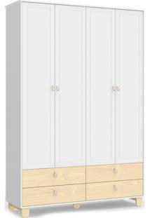 Roupeiro Rope 4 Portas Branco Soft / Natural Matic