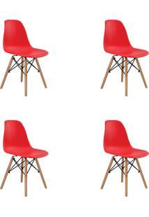 Kit 04 Cadeiras Eiffel S/ Braço Vermelha Rivatti