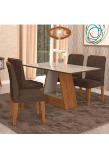 Conjunto De Mesa De Jantar Retangular Alana Com 4 Cadeiras Nicole Suede Cacau E Off White