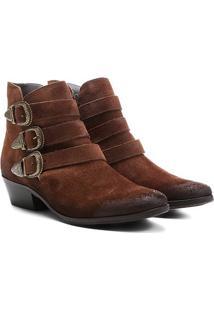Bota Couro Cano Curto Shoestock Fivelas