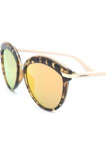 Óculos De Sol Paul Ryan Rosa, Animal Print E Dourado Com Lente Espelhada - B88-1348