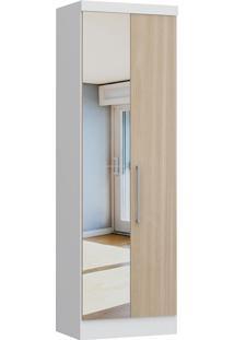 Modulo Com 2 Portas C/ Espelho Infinity 3820A-Castro Móveis - Branco / Nogueira