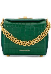 Alexander Mcqueen Crocodile-Effect Box Bag - Verde