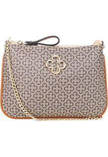 Bolsa Capodarte Mini Bag Transversal Monograma Alça Corrente Feminina - Feminino-Caramelo