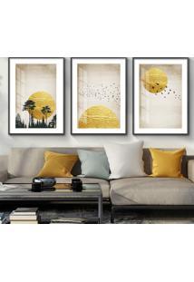 Quadro 60X120Cm Abstrato Nórdico Sol De Sigel Moldura Preta Sem Vidro Decorativo Interiores