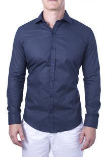 Camisa Alfaiataria Burguesia Poá Azul Marinho Com Bolinhas Brancas 100% Algodao