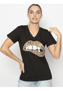 Blusa Boca Com Paetãª- Preta & Bege- Fashion 500Fashion 500