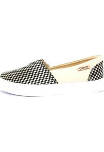 Tênis Slip On Quality Shoes Trissiê Feminino - Feminino-Bege+Preto