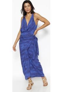 Blusa Tie Dye Com Transpasse- Azul Marinho & Azul- Vvix
