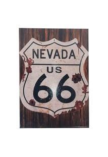 Quadro Decorativo Sala Metal Nevada Us 66 Cor Preto 29X22X1