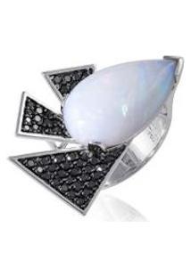 Anel Nice Noir Ob Opala E Diamantes Black - 17