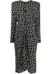 Isabel Marant Vestido Curto De Seda Com Estampa - Preto