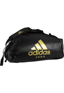 Bolsa Mochila Adidas Judô 2In1 Pu 50L Preto/Dourado