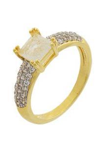 Anel Narcizza Solitário Com Zircônia Cristal Fusion Banhado No Ouro
