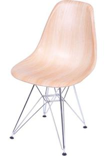 Cadeira Eames Polipropileno Amadeirado Claro Cromada - 36781 - Sun House