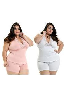 Kit 2 Short Doll Microfibra Plus Size Dakota Detalhe Renda Regata Rosê Branco