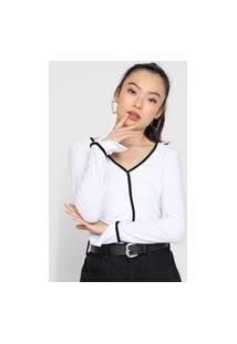 Blusa Lunender Textura Branca