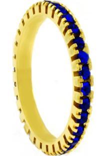 Aliança Horus Import Aparador Azul Safira Dourada